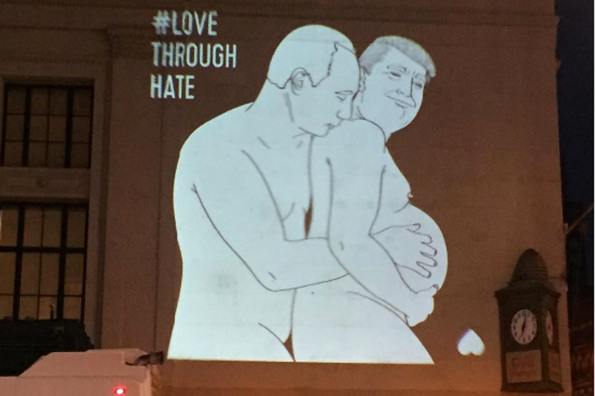 Someone Projected an Image of Putin Caressing Trump in Manhattan Last Night