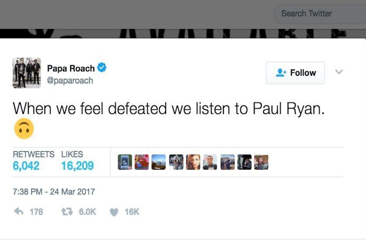 "Papa Roach Responds to Paul Ryan Listening to ""Last Resort"" as He Left Trumpcare Vote"