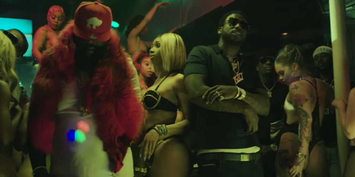 """Watch Gucci Mane and Rick Ross Send Strippers into a Frenzy in """"She On My Dick"""""""