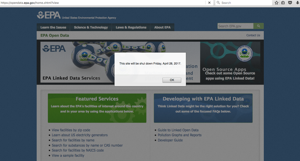 EPA to Shut Down Open Data Service Friday