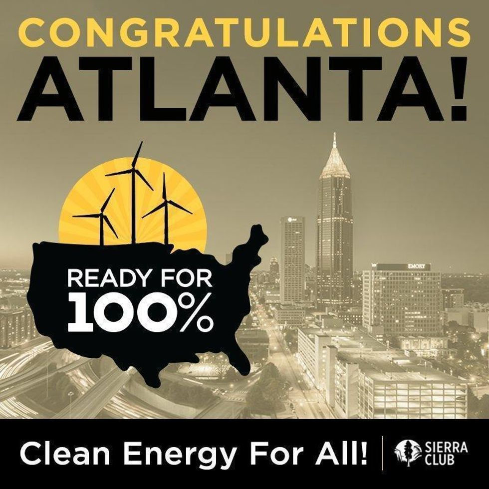 Atlanta Becomes 27th City to Commit to 100% Renewables