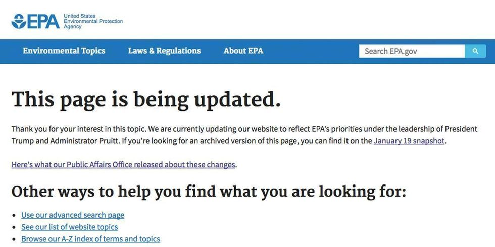 EPA Takes Hatchet to Website