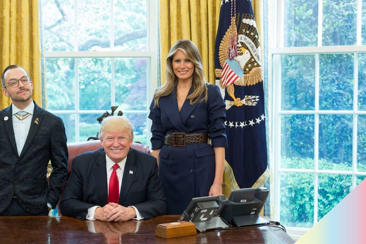 """Sassy"" Teacher of the Year Poses with the Trumps, Thanks LGBT Community"