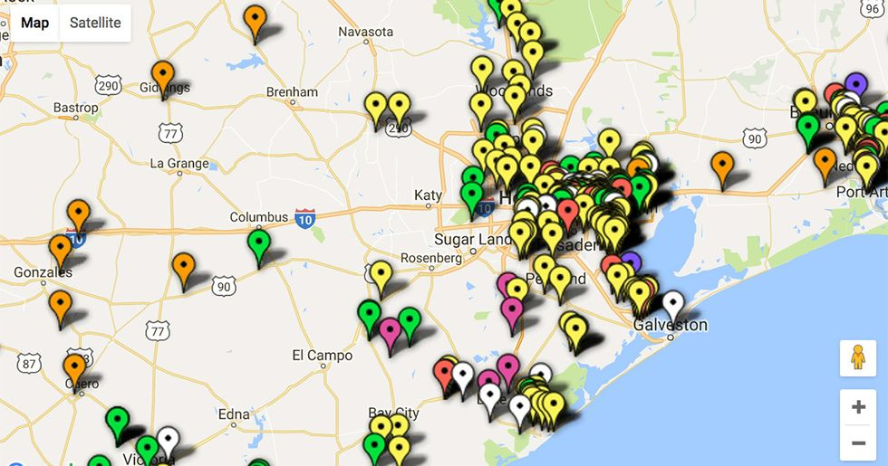 Interactive Map Shows Volatile Facilities Threatened by Hurricane Harvey