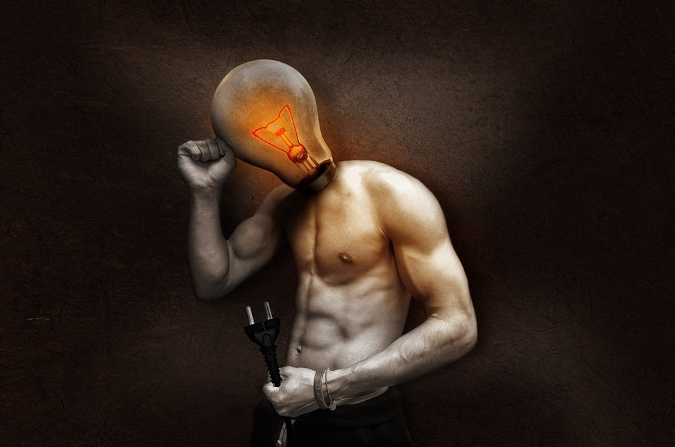 Man's box with a lightbulb for a head