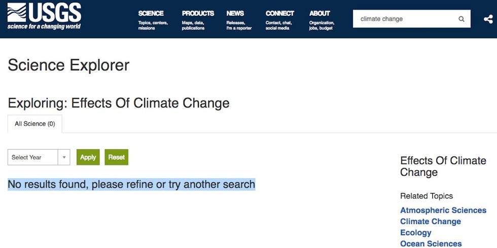 'No Results Found': Thousands of Climate Science Links Purged From USGS Online Database