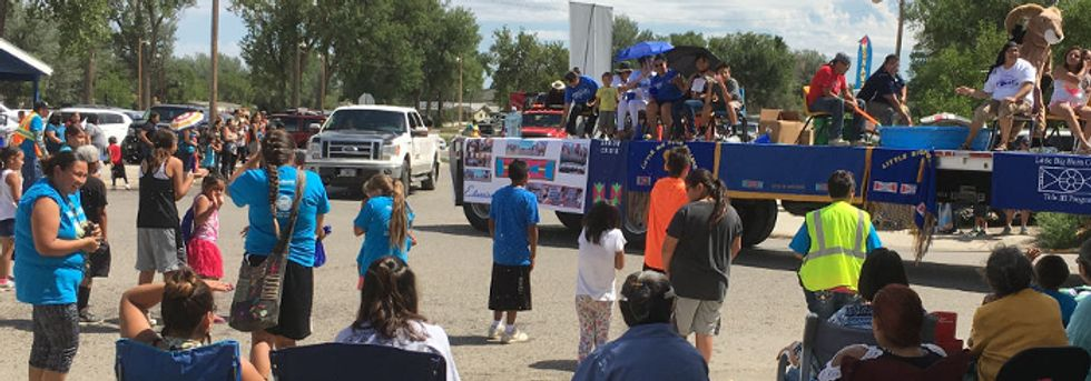 Street parade in Crow Agency, Mont.