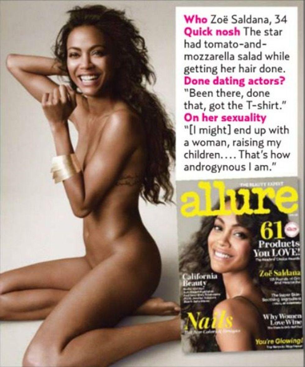 Zoe Saldana Poses Nude For Allure Magazine Xonecole Womens