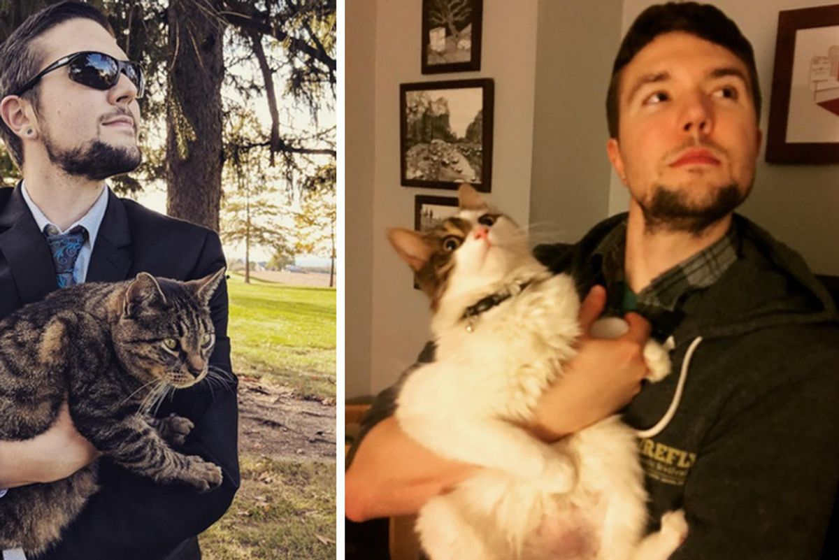 Man Can't Have a Cat So He Takes Photo With Every Kitty He Meets and Gives Them Cuddles