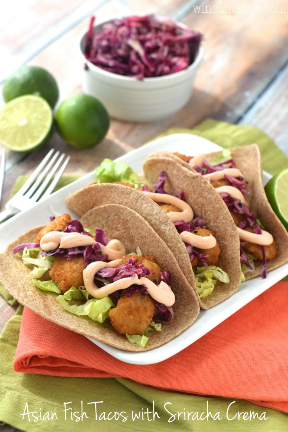 Asian Fish Tacos with Sriracha Crema ...