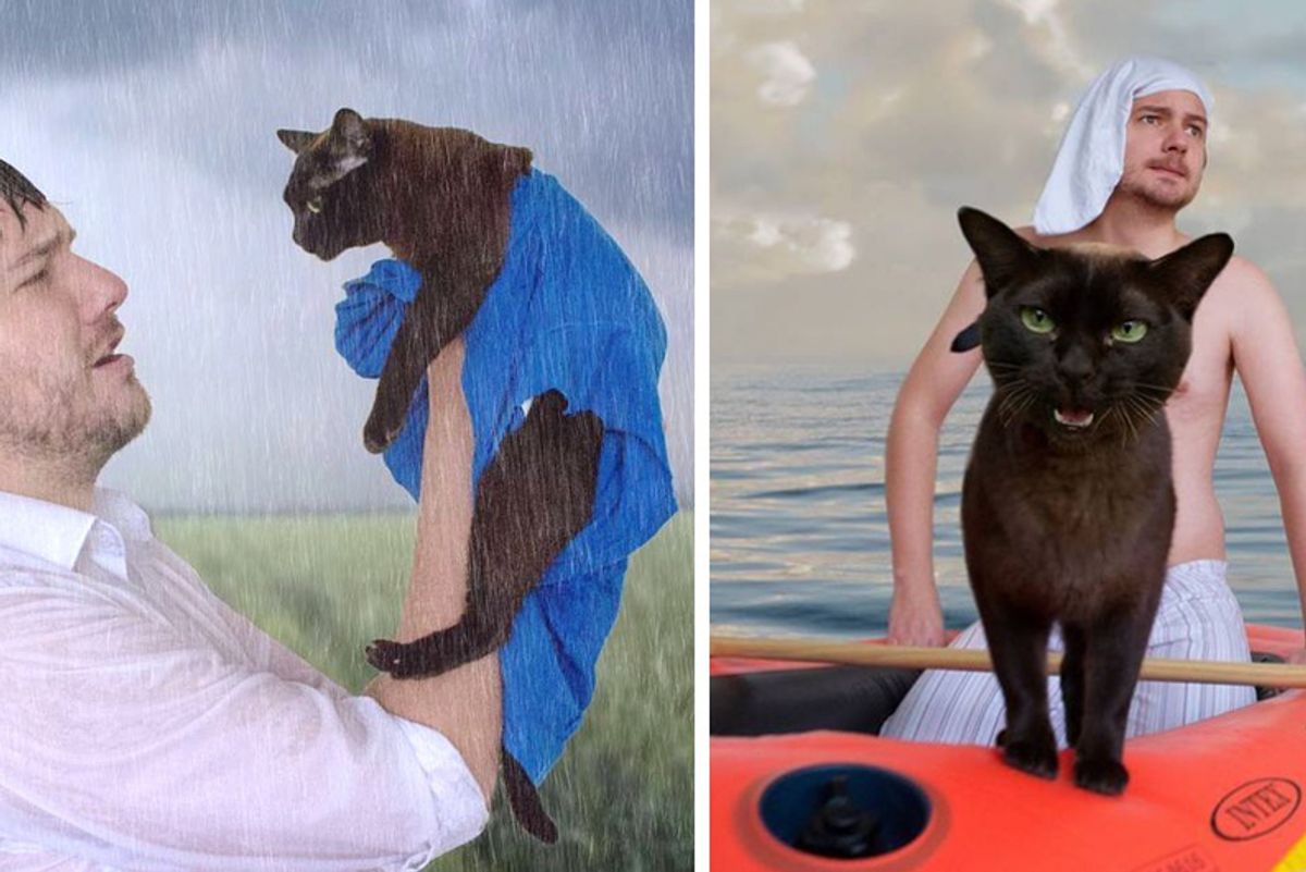 Cats and Their Human Dad Remake These 10 Memorable Movie Scenes Together