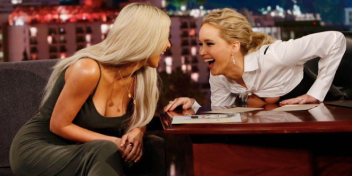 Watch Jennifer Lawrence Ask Kim Kardashian About Kanye, O.J., Blac Chyna and Crazy Ex-Boyfriends