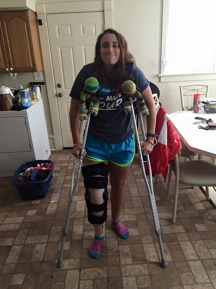 Knee braces and crutches for patient who tore her ACL