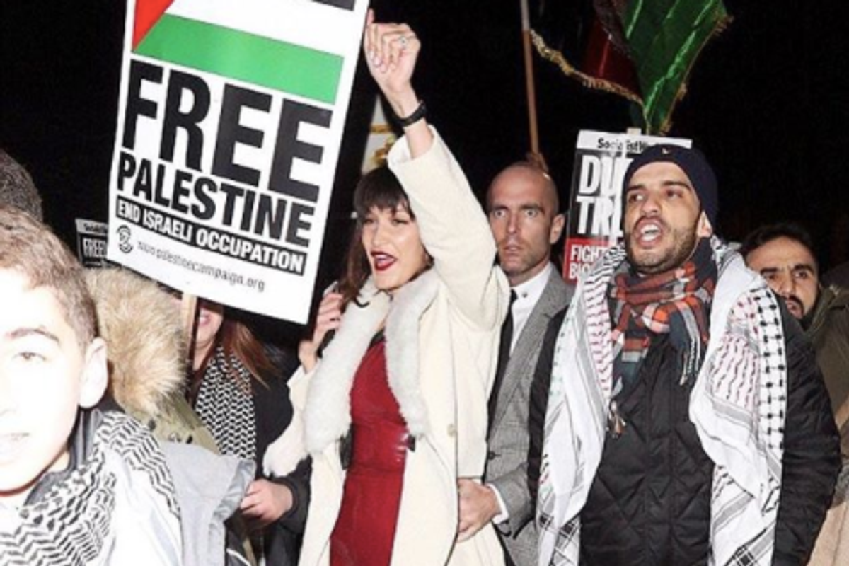 Bella Hadid Attends a Protest for Palestine