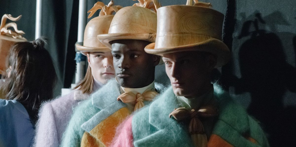 Backstage at London College of Fashion's Colorful Menswear Show