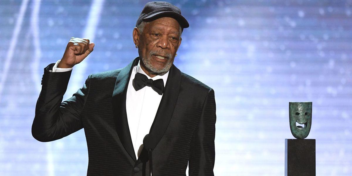Morgan Freeman Gives Woke SAG Awards Speech in Dad Cap