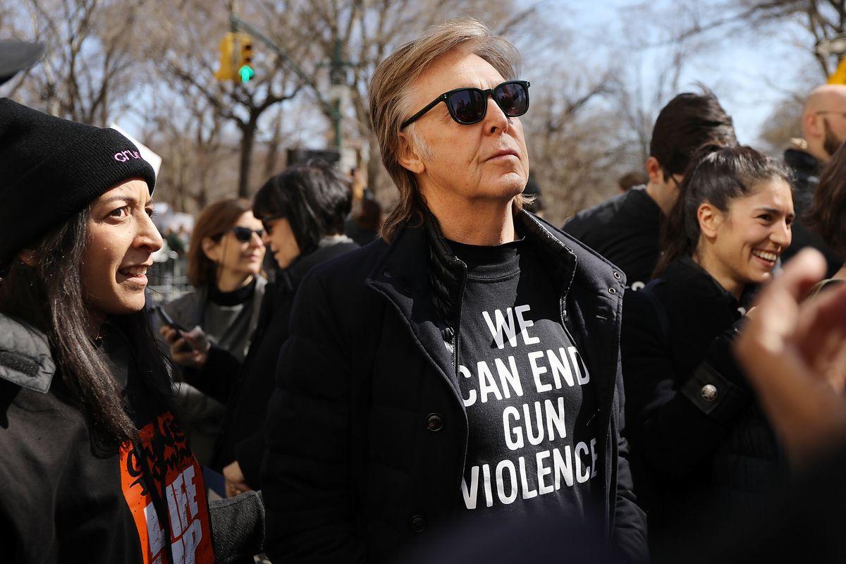 Paul McCartney Joins New York #MarchForOurLives in Honor of John Lennon