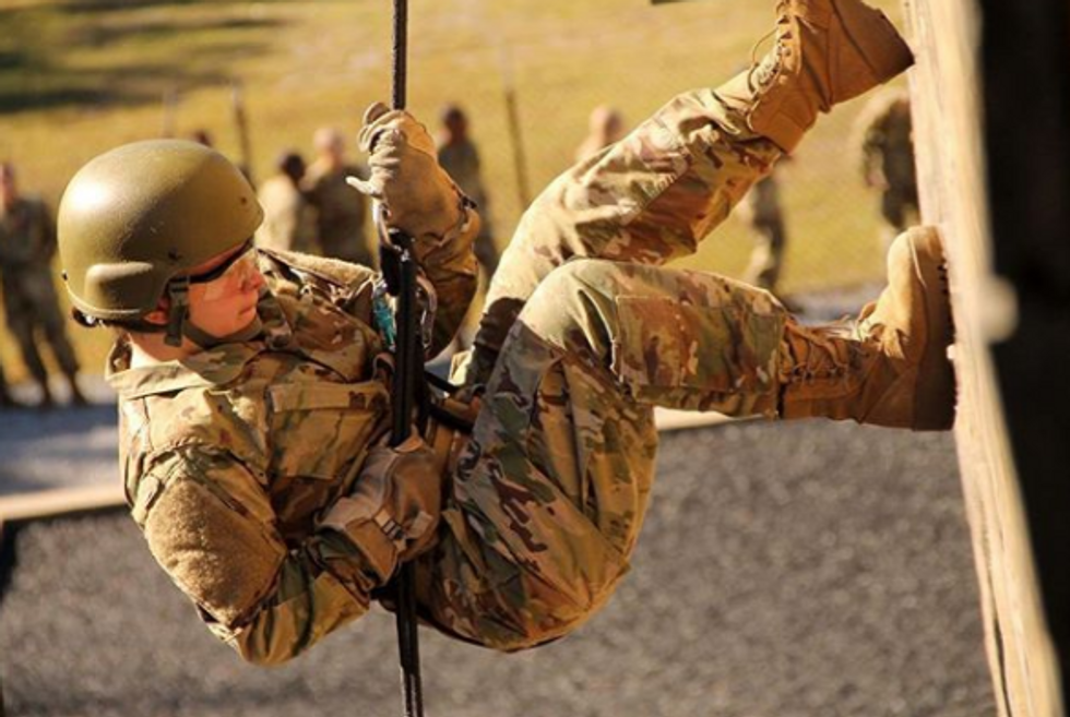 soldier rappelling