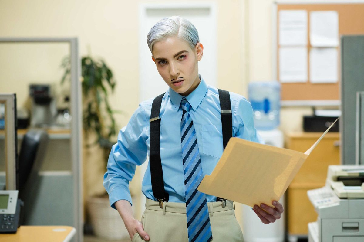 Dorian Electra Is a Sexy Workaholic in 'Career Boy'