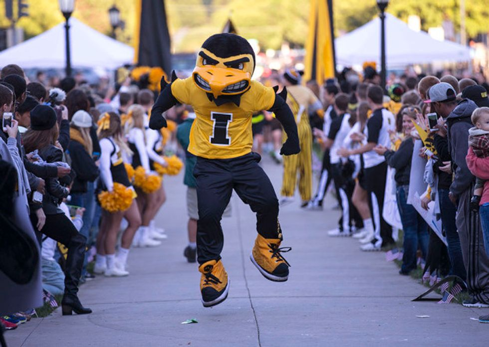 This might be the most terrifying version of herky the hawk i have ever seen
