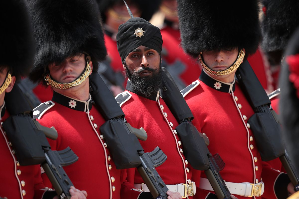 Sikh Guardsman Marches in a Turban for the Queen's Birthday Parade