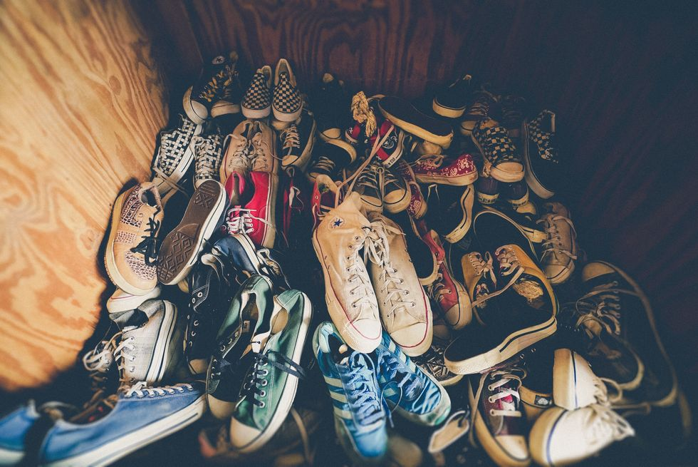 A big, messy pile of sneakers