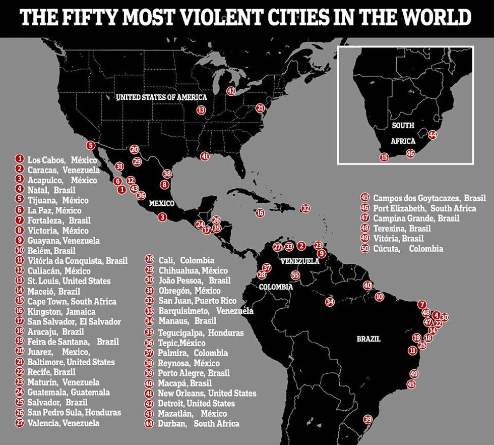 Where are the deadliest cities on Earth? 84% of them are in ... on