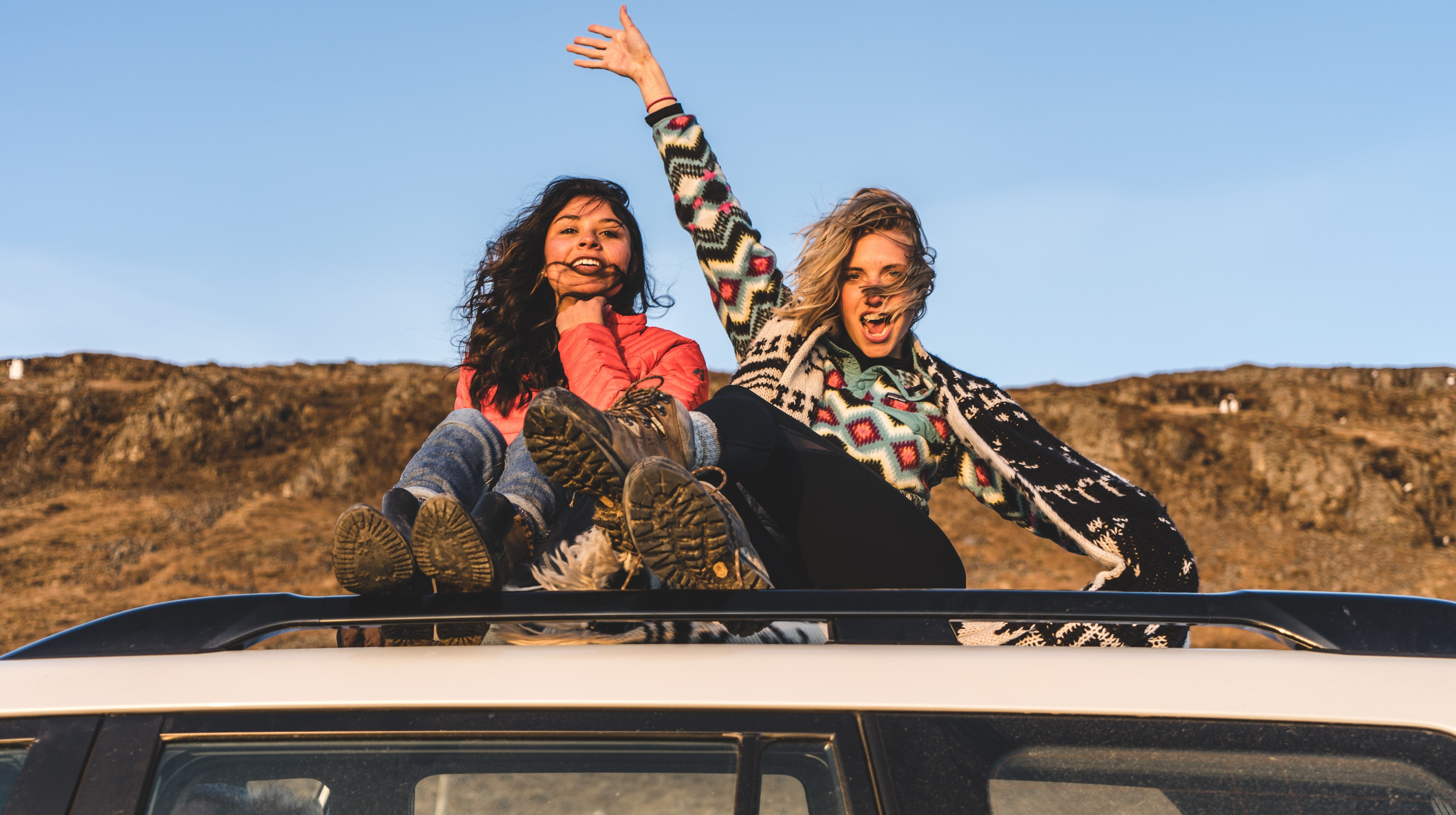Girls on a car
