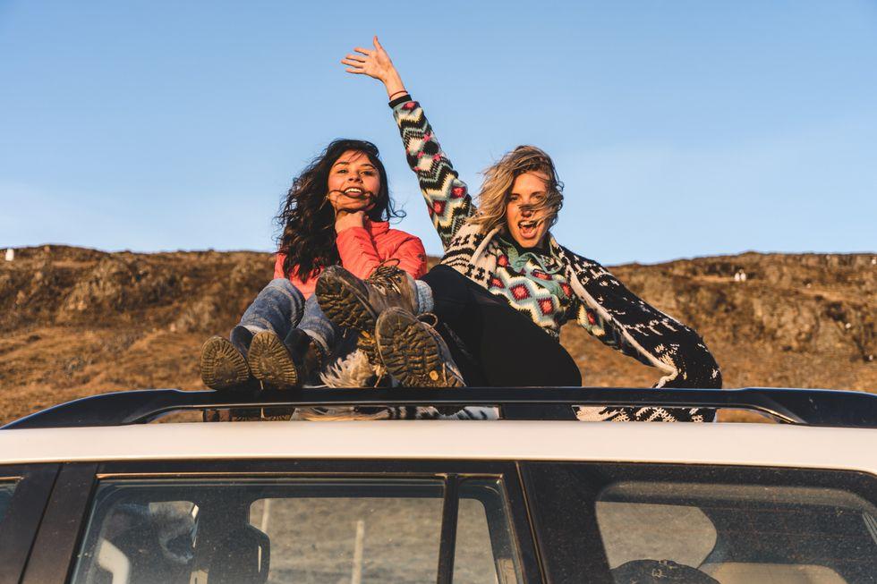Girls on a car