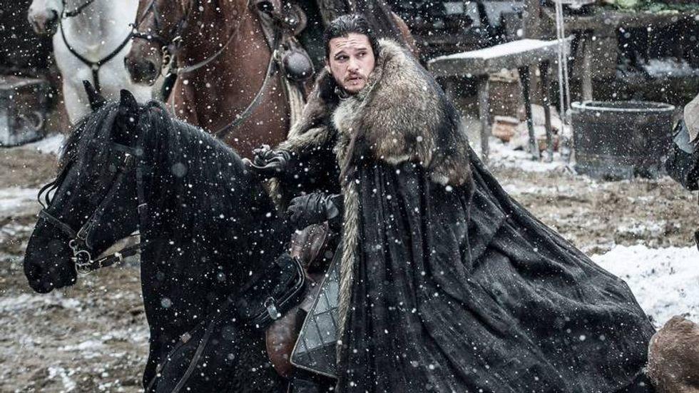 Jon Snow riding away from Winterfell in Game of Thrones, Season 7 Episode 2 'Stormborn'