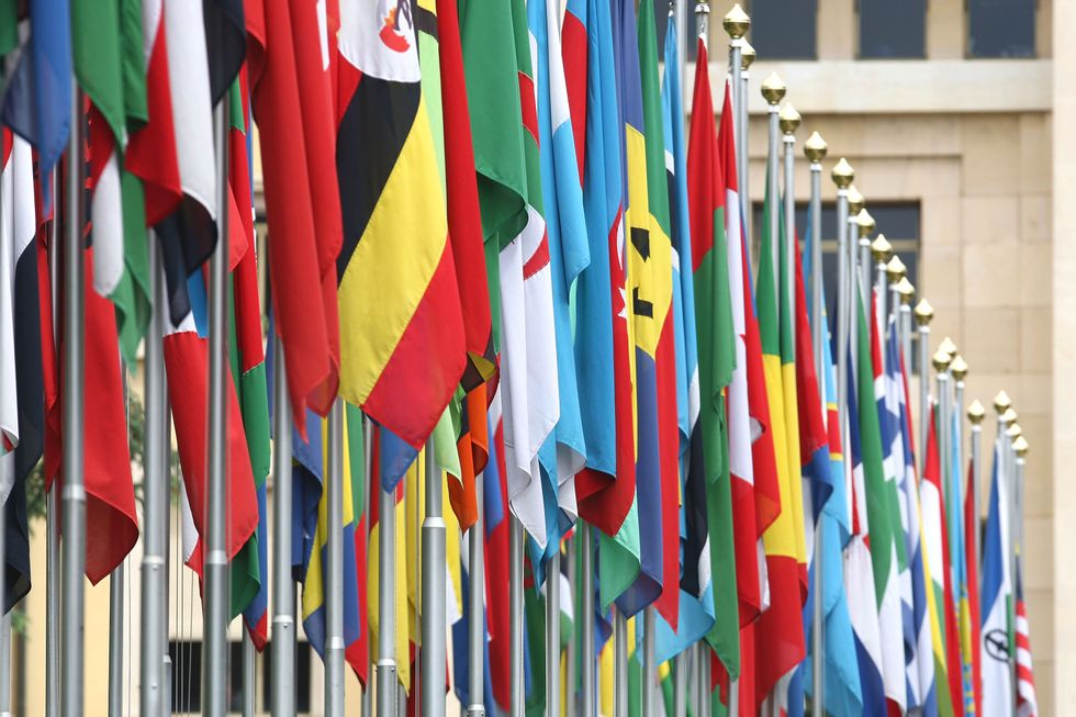 Flags in front of the UN in Geneva
