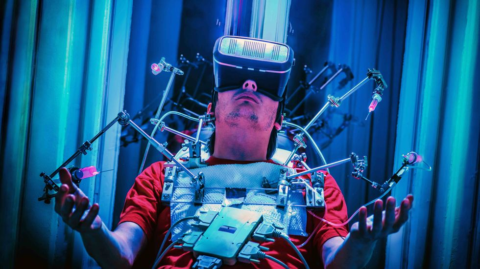Virtual reality and technology addiction, the bad side of VR in a classic nightmare representation. (Credit: Koron)