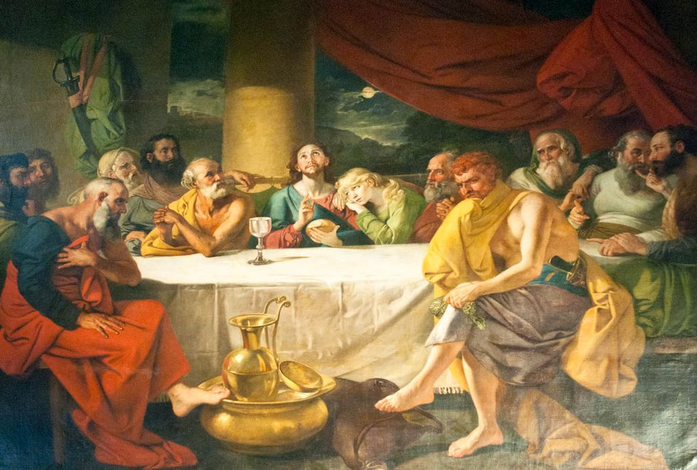 Schwiki. St. John's Church mural of the last supper. Wikipedia Commons.