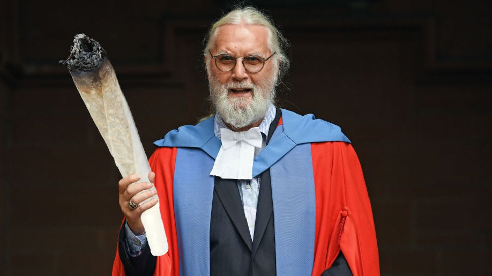 Sir Billy Connolly Received an Honorary Degree From Strathclyde University. Here's what his honorary degree from NMU would look like. (Photo by Jeff J Mitchell/Getty Images)