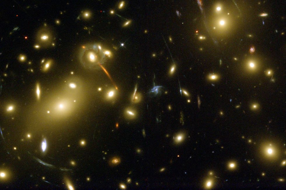 Galaxies and galaxy clusters.