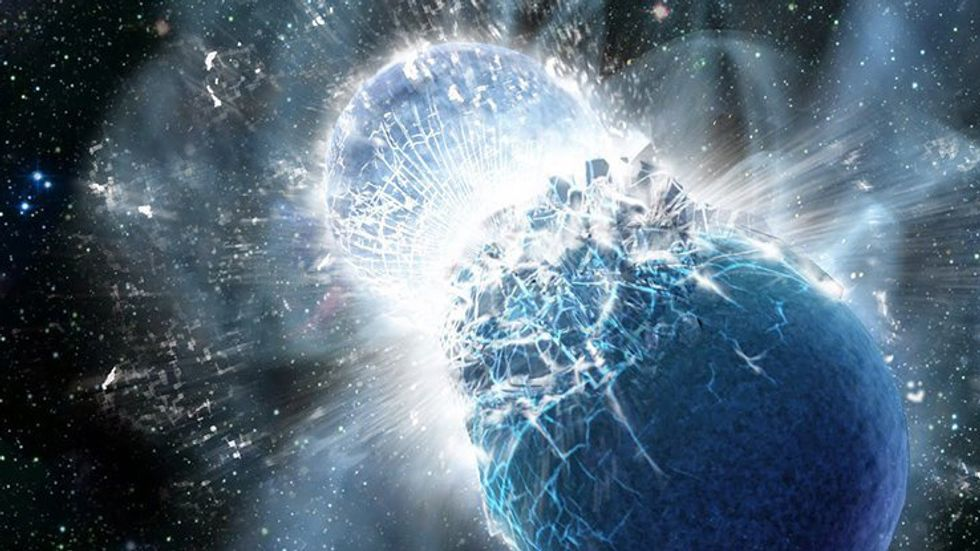 Artist's impression of two neutron stars colliding. Credit: Dana Berry, SkyWorks Digital