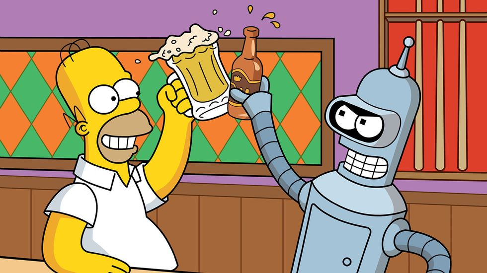 Homer Simpson and the robot Bender from Futurama having a beer. Image: Bongo Entertainment Inc.