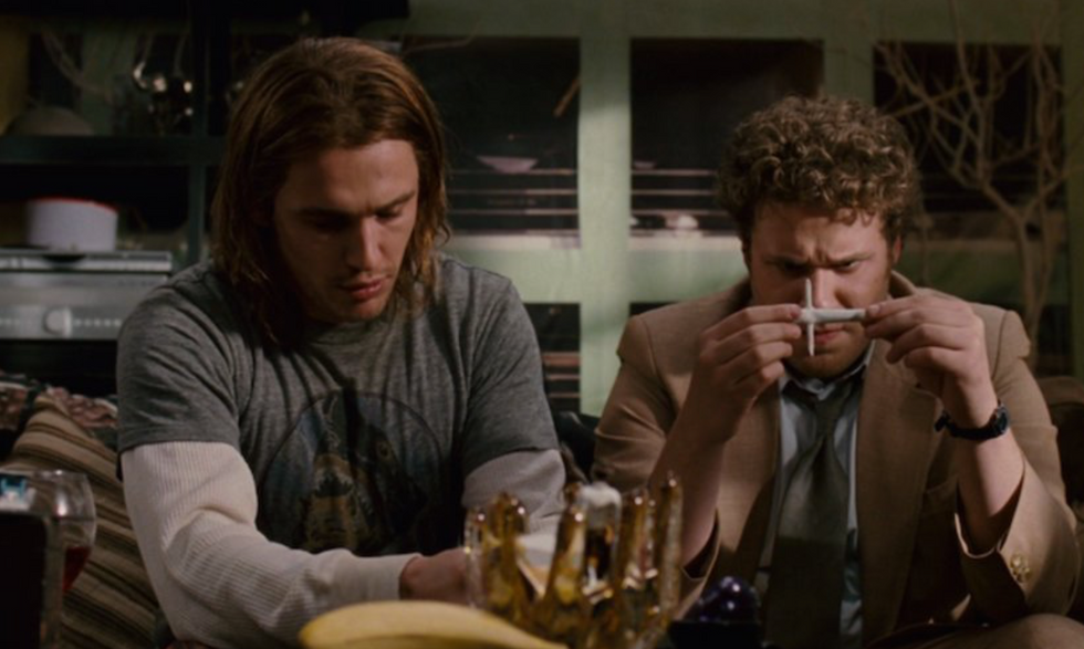 """Seth Rogan and James Franco smoking the """"apex of joint engineering"""" in Pineapple Express, Sony Pictures, 2008"""