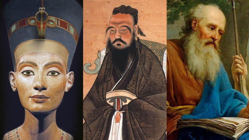 Nefertiti, Confucius, and Socrates