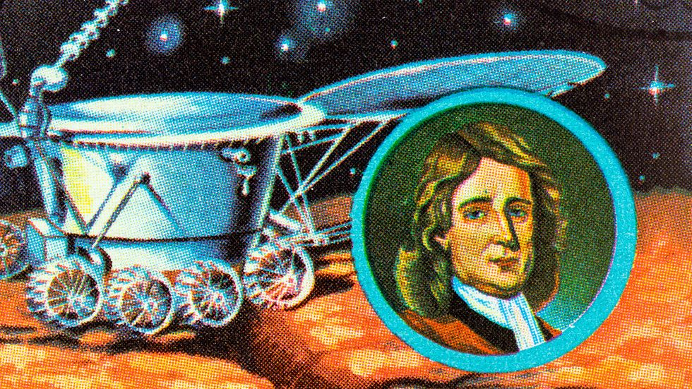 """A stamp printed in Laos from the """"Space Exploration """" issue shows Newton and Lunokhod 2, circa 1984."""