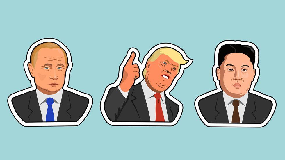 Vladimir Putin, Donald Trump, and Kim Jong Un