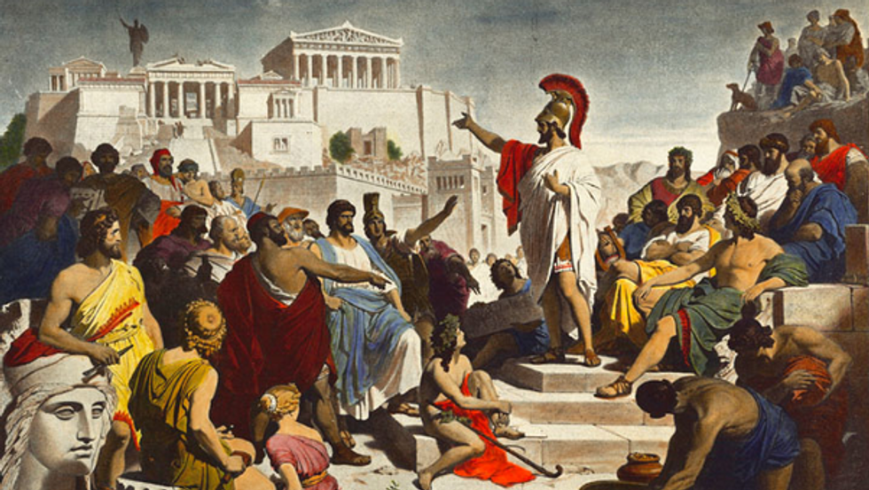 Pericles, the great Athenian leader, speaks of the greatness of liberty to the people of Athens.