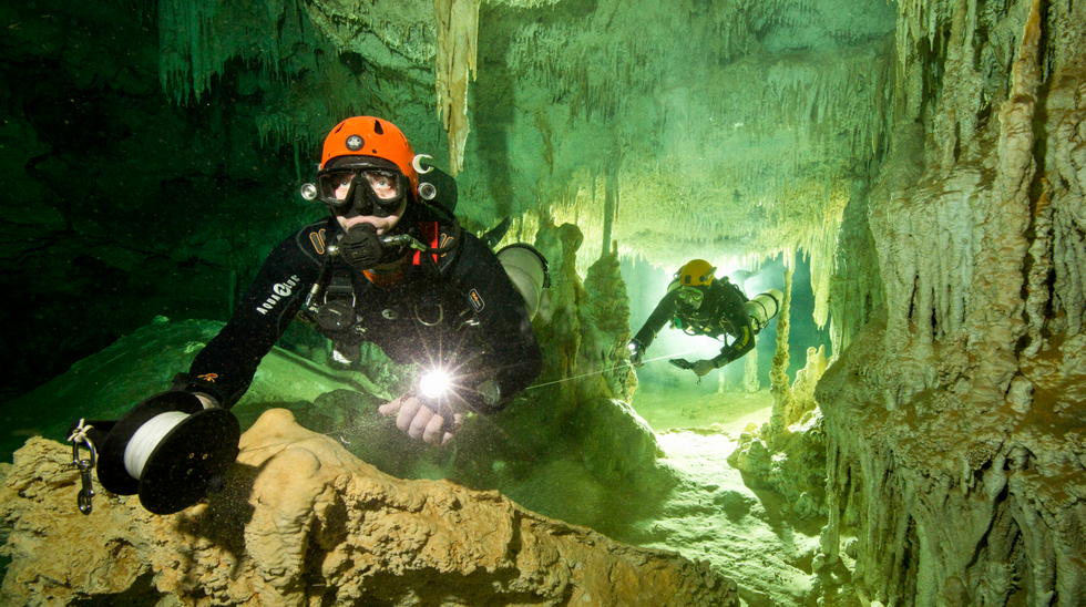 Divers discover world's largest underwater cave system filled with Mayan mysteries