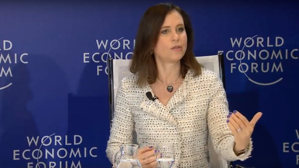 Editor in Chief of USA Today Joanne Lipman in discussion with Gary Barker and Saadia Zahidi at Davos 2018.