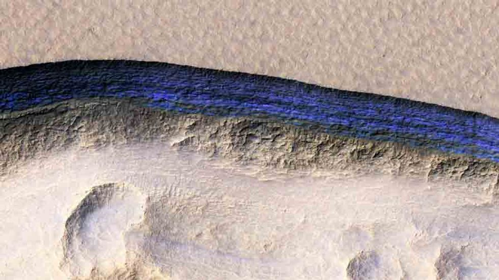 The ice layer found in one of eight sites on Mars. Credit: NASA/JPL/UNIVERSITY OF ARIZONA/USGS