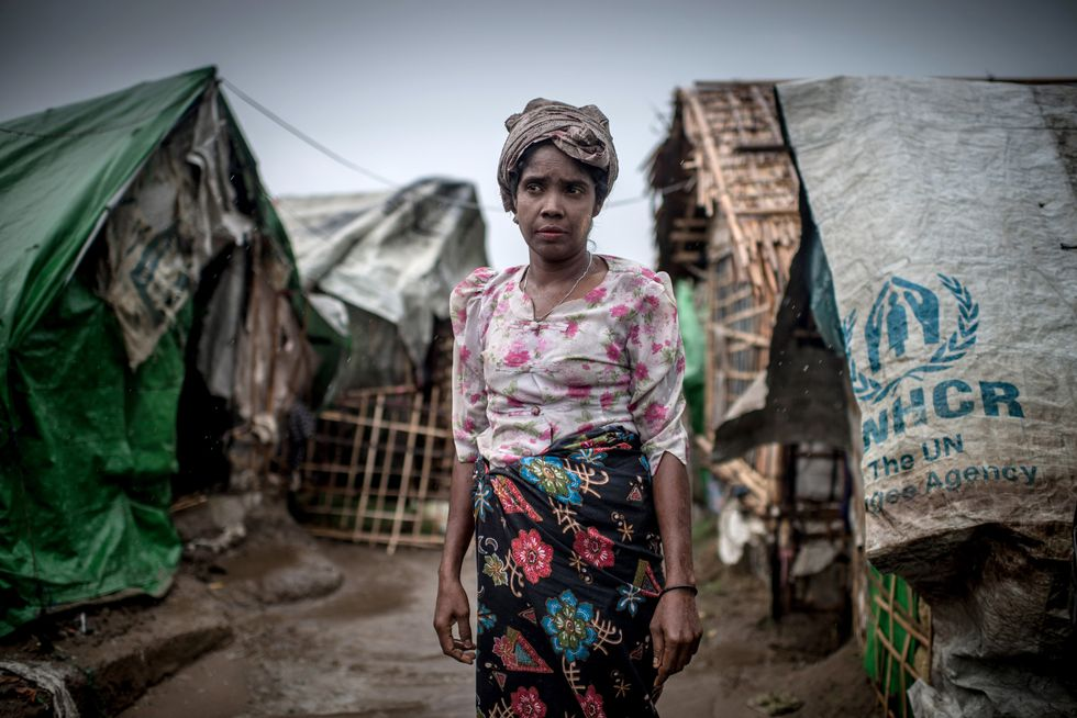 Woman in a refugee camp.