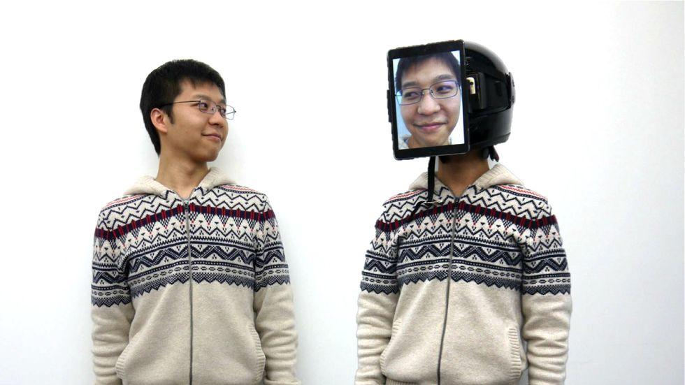 A developer demonstrates a telepresence technology called ChameleonMask