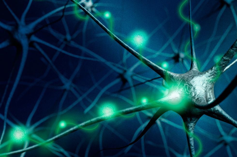 A neuron firing.
