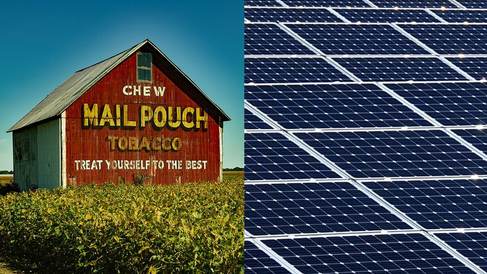 A tobacco ad on the side of a barn, versus a solar energy farm.