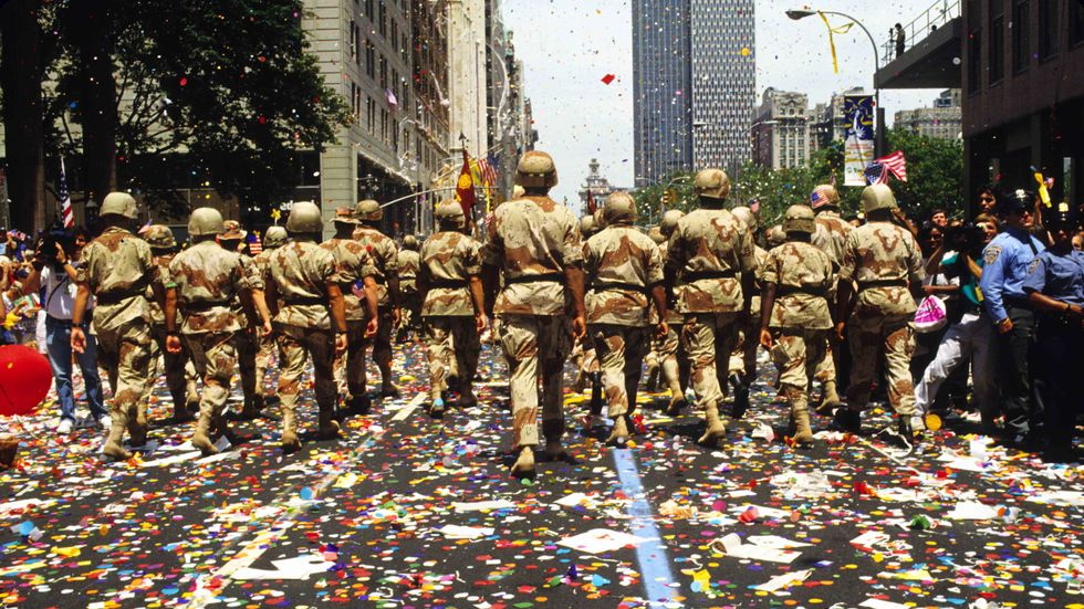Veterans of the Gulf War's 'Operation Desert Storm' march up Broadway's 'Canyon of Heroes,' in the Financial District of lower Manhattan. (ANDREW HOLBROOKE/Corbis via Getty Images)